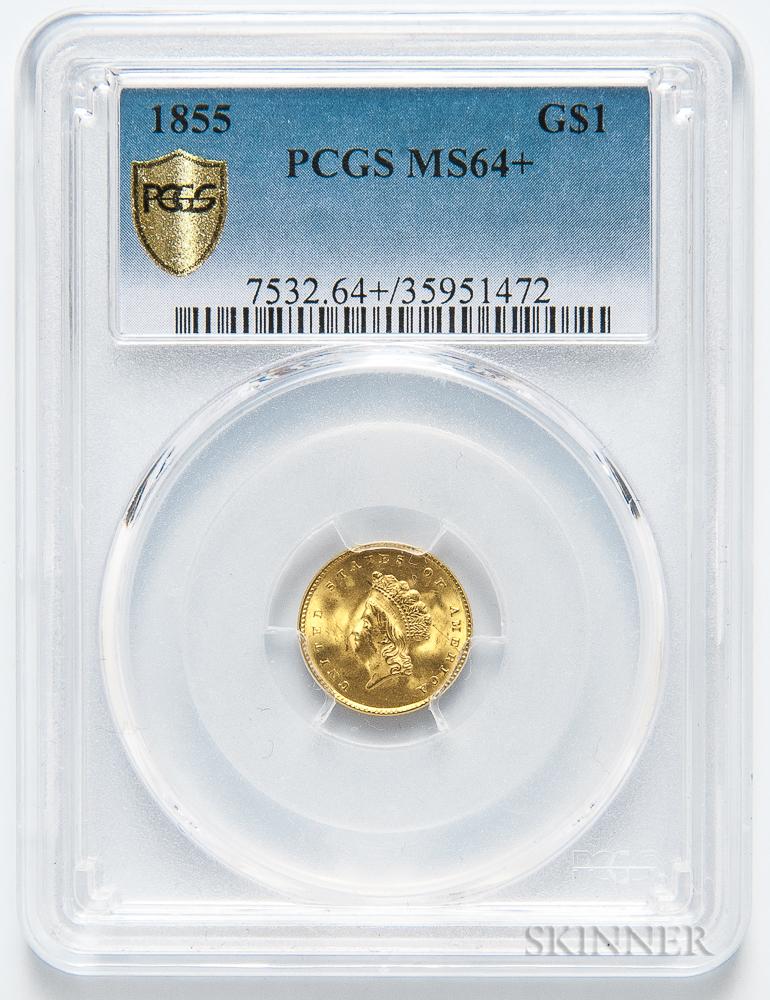 1855 Type 2 Gold Dollar, PCGS MS64+.     Estimate $4,000-6,000