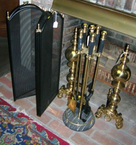 Pair of Georgian-style Brass Andirons, a Set of Five Tools on Stand, and a Brass and Wire Four-part Folding Fireplace Screen.