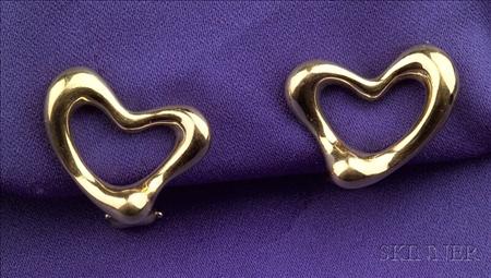 """18kt Gold """"Open Heart"""" Earclips, Tiffany & Co., Elsa Peretti"""