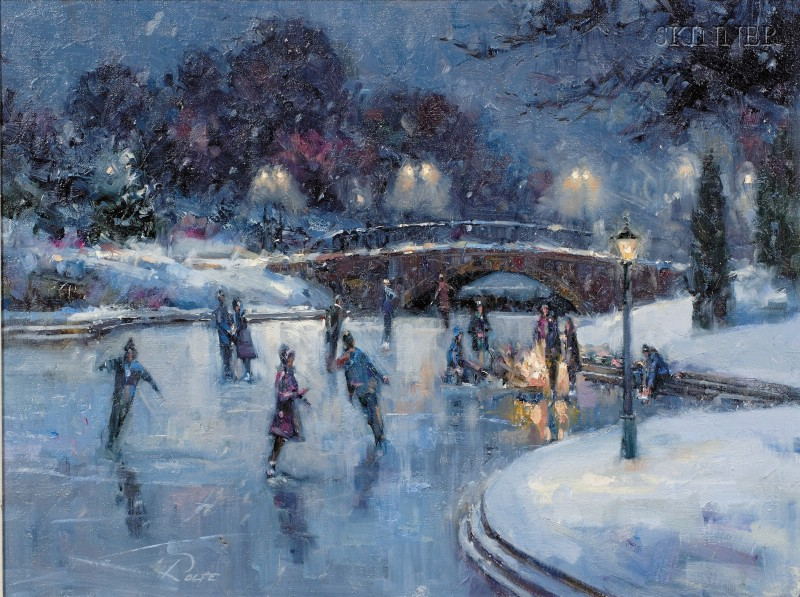 Peter Rolfe (American, 20th/21st Century)      Moonlight Skaters