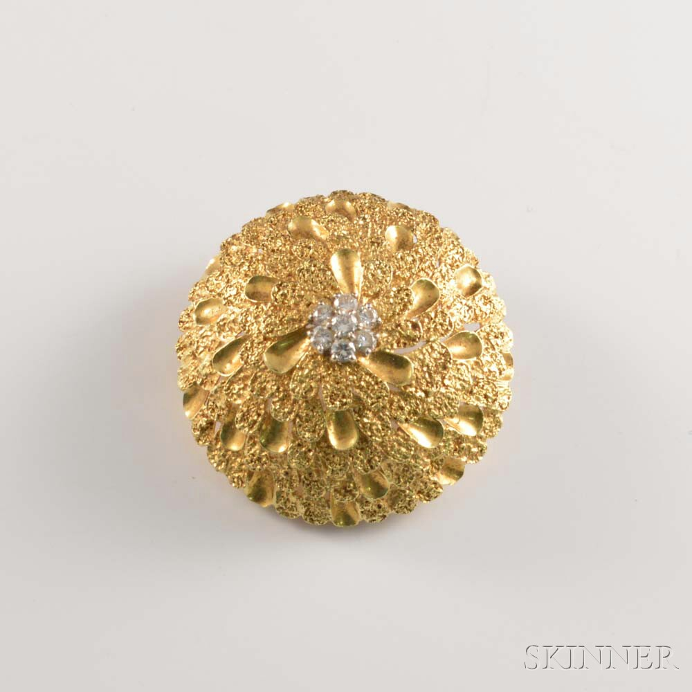 Cartier 18kt Gold and Diamond Floral Brooch