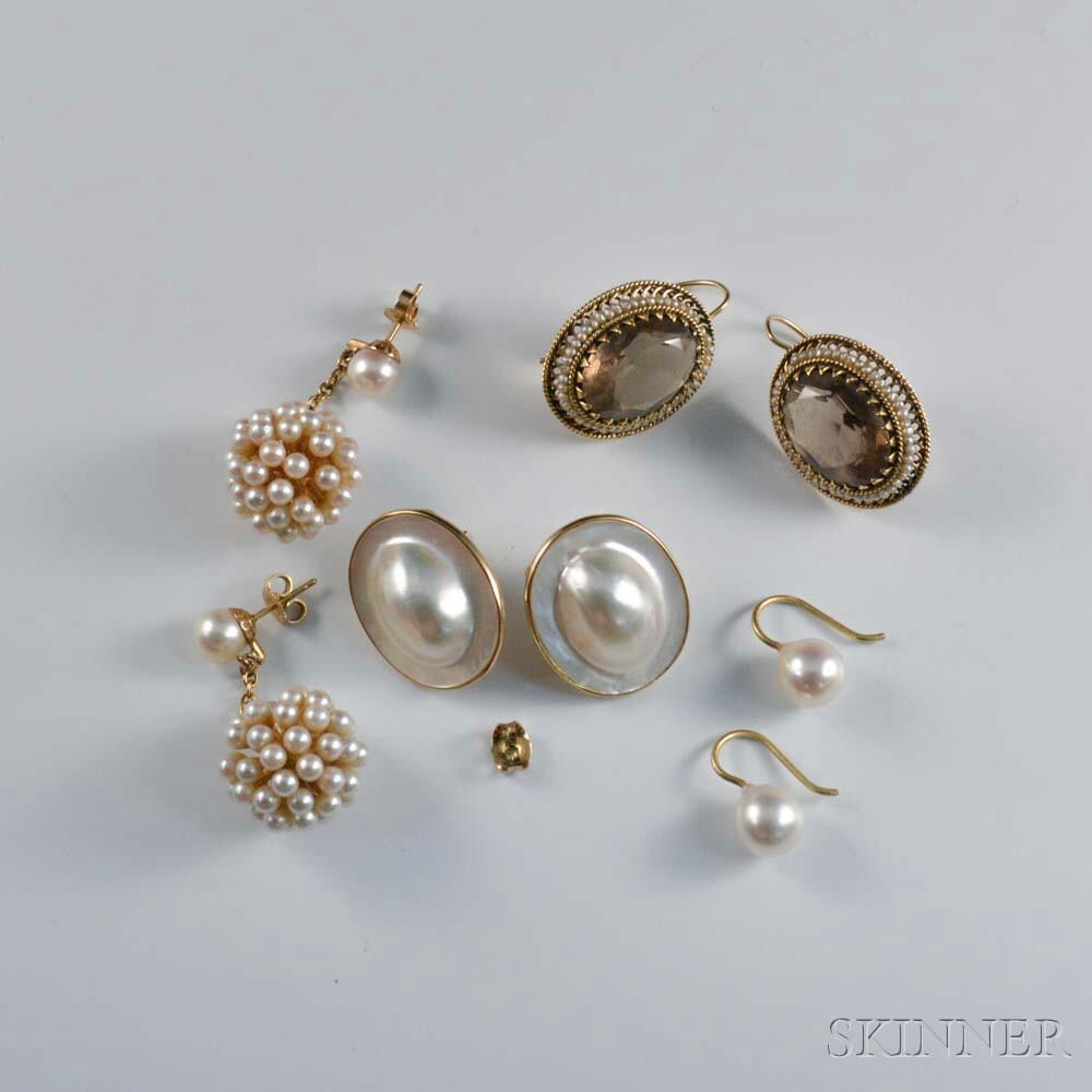 Four Pairs of Pearl Earrings