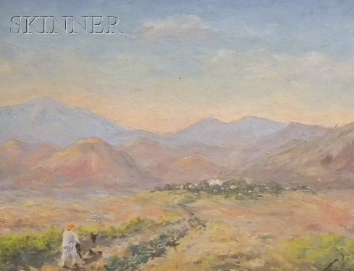 American School, 20th Century      Desert Landscape with Figure and Mule