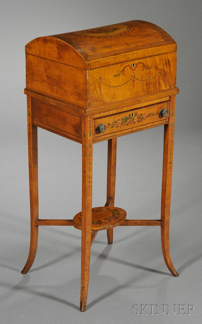 George III Painted Satinwood Work Box on Stand