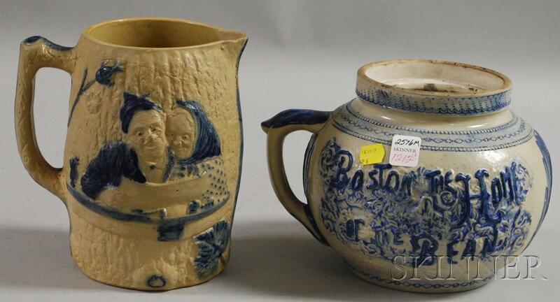 Cobalt-highlighted Molded Stoneware Jug and Boston Bean Pot.