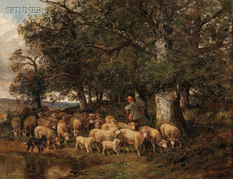 James Desvarreux-Larpenteur (American, 1847-1937)      A Shepherd and His Flock Beneath Oak Trees