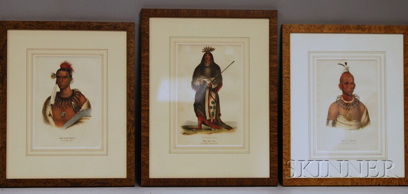 Three Prints from McKenney and Hall's The History of the Indian Tribes of North   America