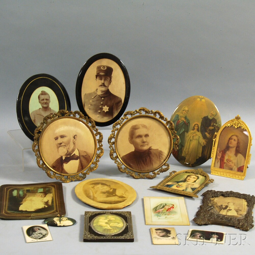 Small Collection of Lithographed Tin Portraits, a Scrapbook Album, and a Group of   Marbles