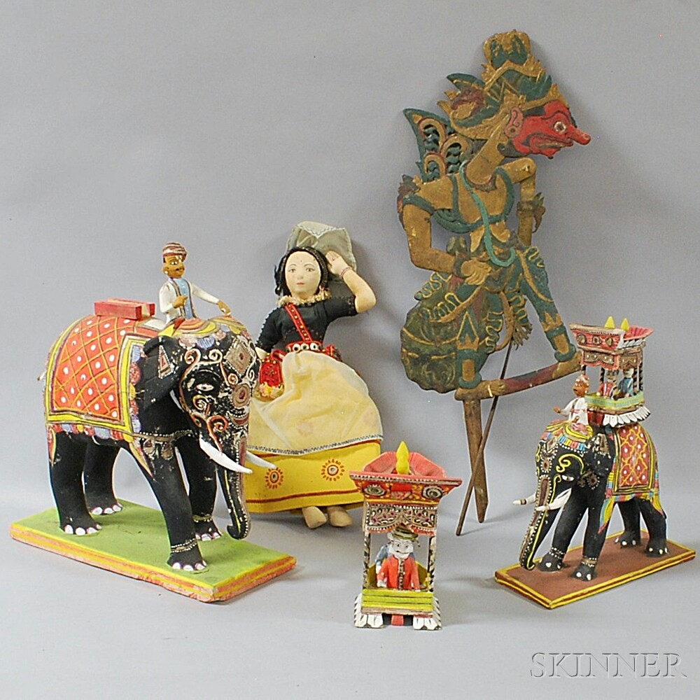 Four Mostly Indian Papier-mache Toys