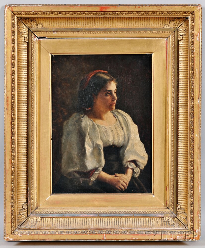 Continental School, 19th Century    Portrait of a Woman in a White Peasant Blouse