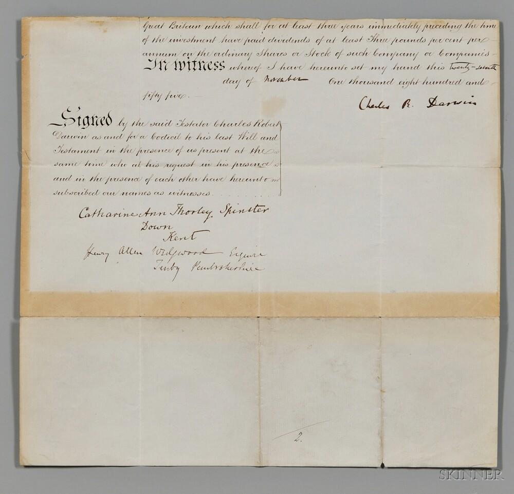 Darwin, Charles Robert (1809-1882) Partial Legal Document Signed, 27 November 1855.