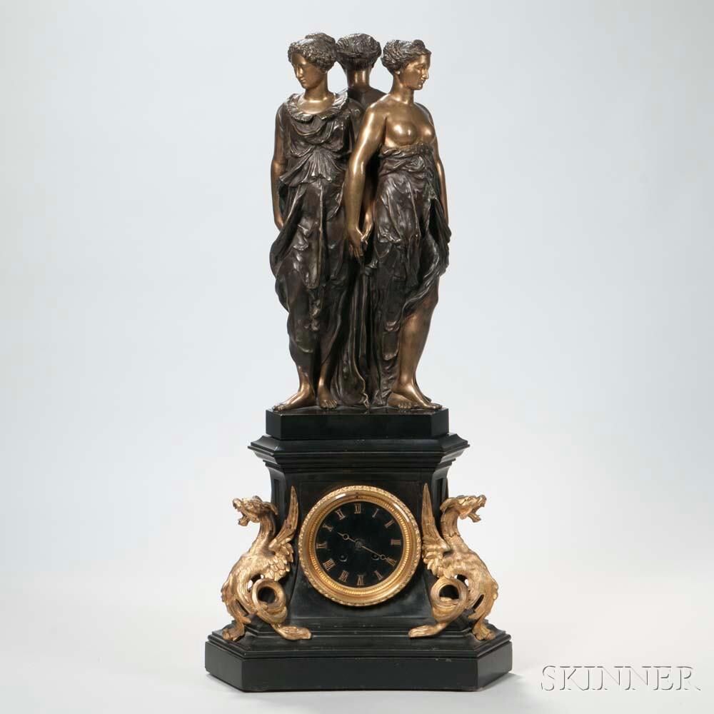 Empire Patinated Bronze Mantel Clock