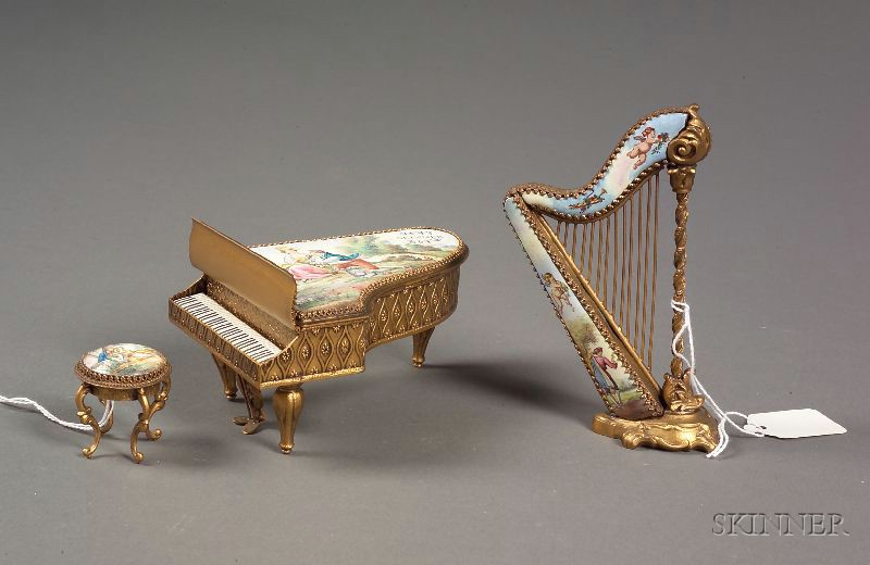 Three Pieces of Viennese Enameled Miniature Furniture
