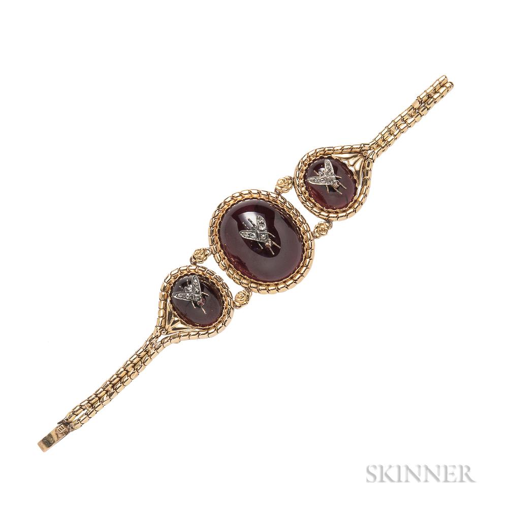 Antique Gold, Carbuncle Garnet, and Diamond Bracelet