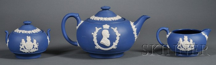 Wedgwood Solid Royal Blue Jasper Three-Piece Coronation Tea Set