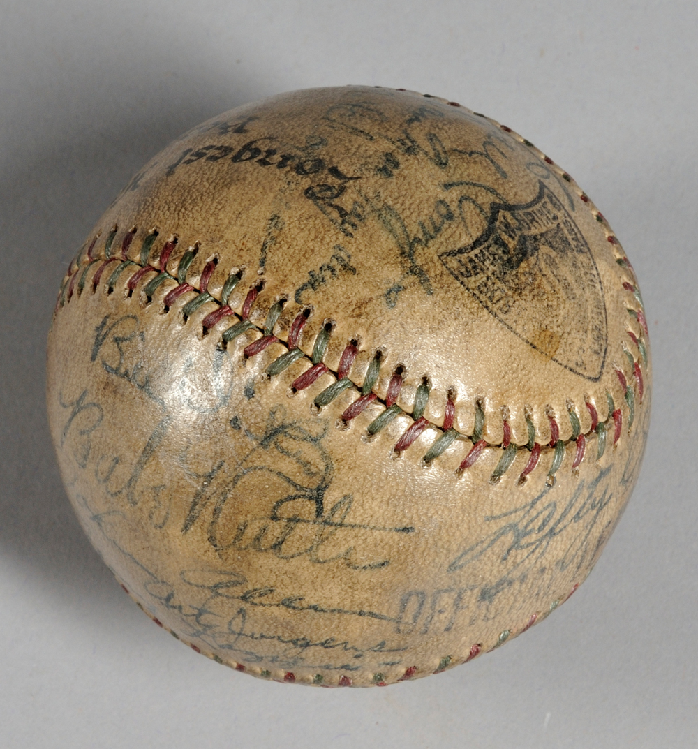 1931 New York Yankees Team Autographed Beacon Oil Co. Benefit Game Baseball