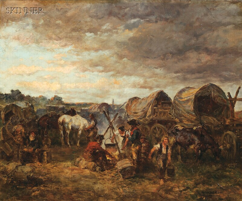 Anton Hoffmann (German, 1863-1938)      Around the Cooking Fire/Encampment with Covered Wagons