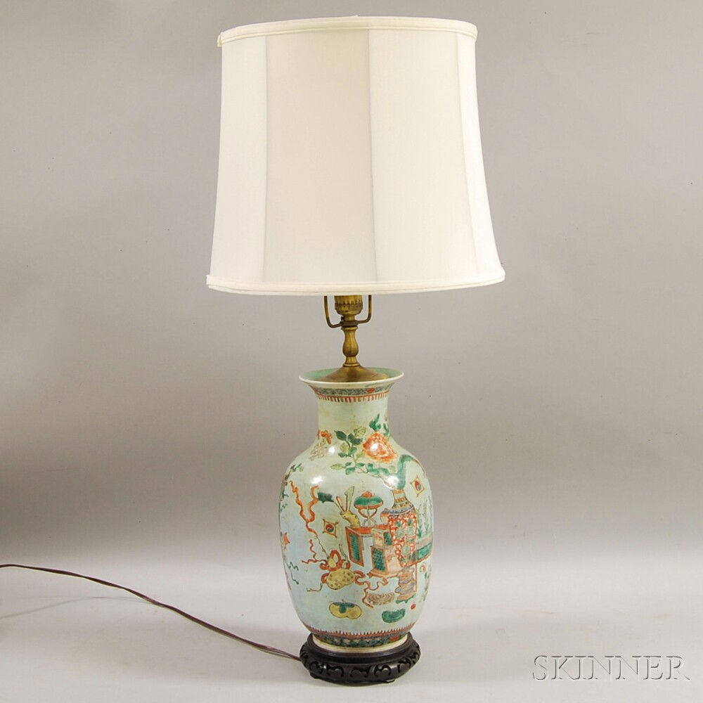 Chinese Polychrome Enameled Vase Mounted as a Lamp