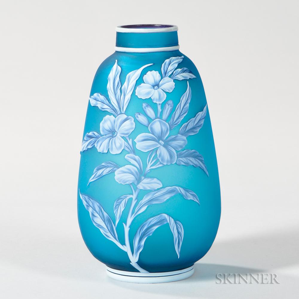 Thomas Webb & Sons Blue Cameo Vase