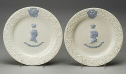 Pair of Wedgwood Embossed Queen's Ware Commemorative Plates
