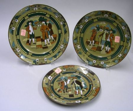Three 1908-1909 Graduated Buffalo Pottery Deldare Ware Plates