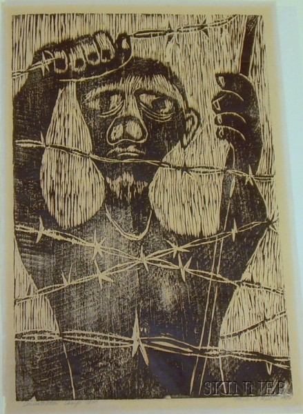 Two Unframed Relief Process Prints Entitled Concentration Camp