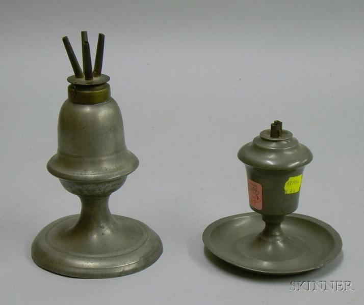 Two Pewter Lamps