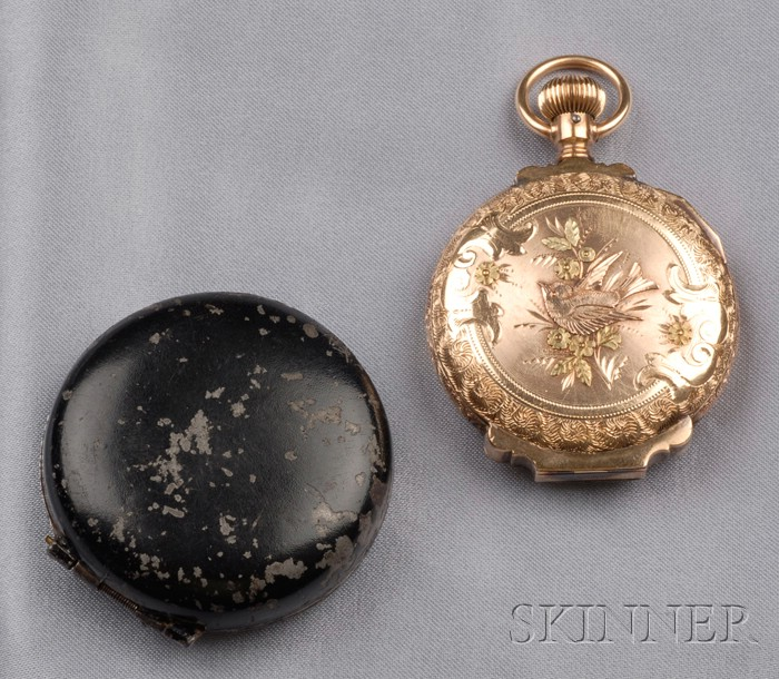 Antique 14kt Tricolor Gold Hunting Case Pocket Watch, Illinois Watch Co.