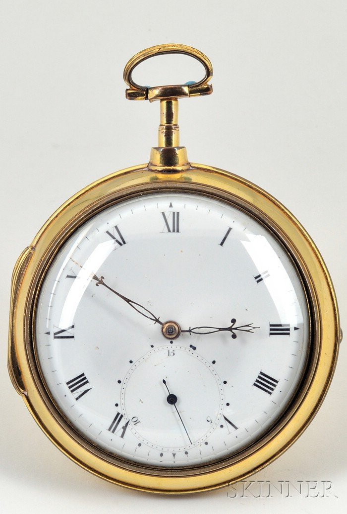 Pair of Gilt-metal Pair-Cased Rack Lever Watches with Complementary Dials by   Litherland, Davies & Company