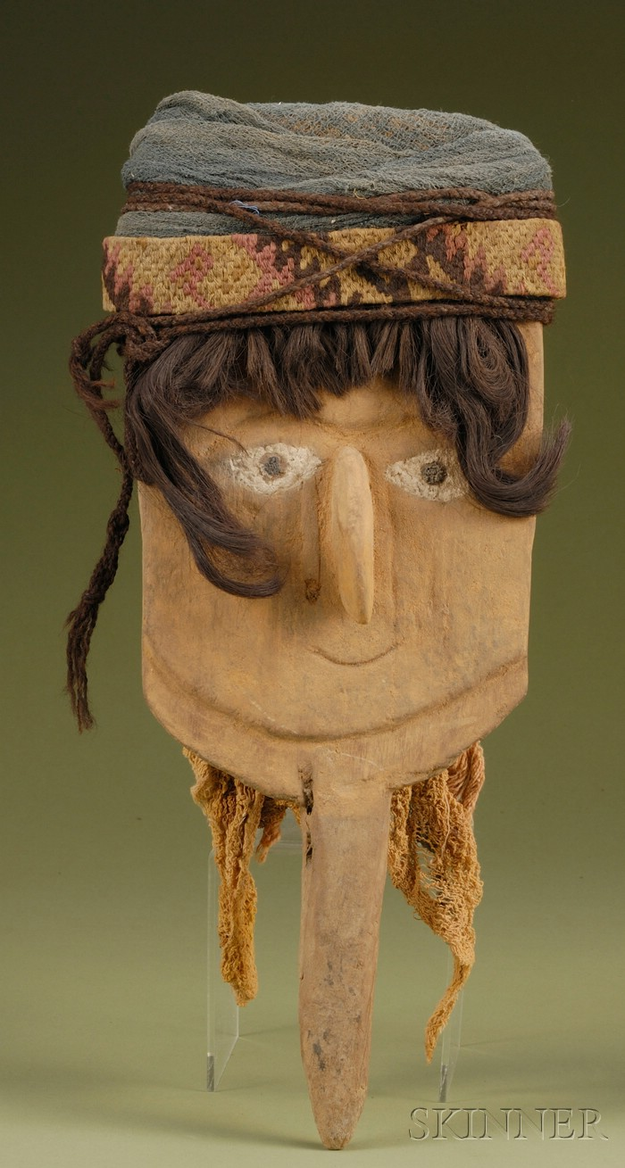 Pre-Columbian Carved and Painted Wood Burial Marker