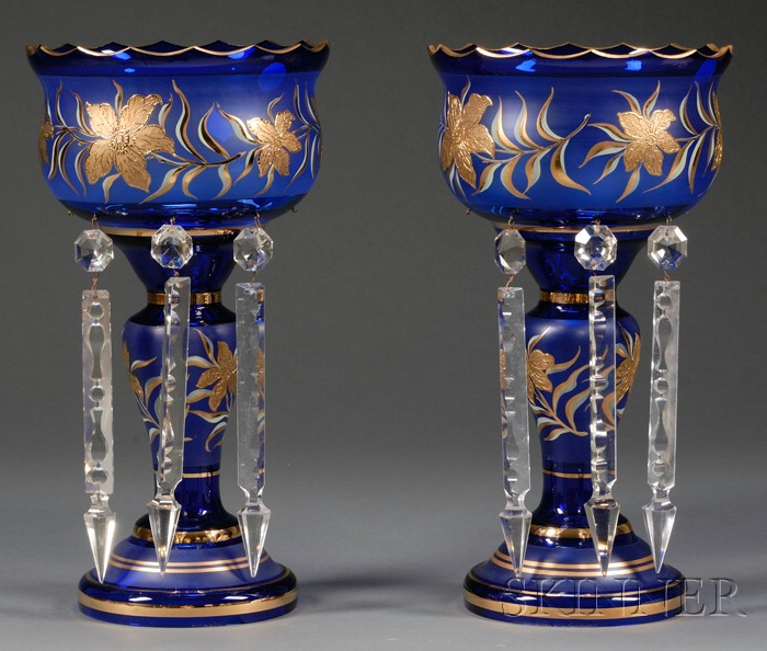 Pair of Victorian-style Cobalt Blue and Gilt Decorated Glass Mantel Lustres