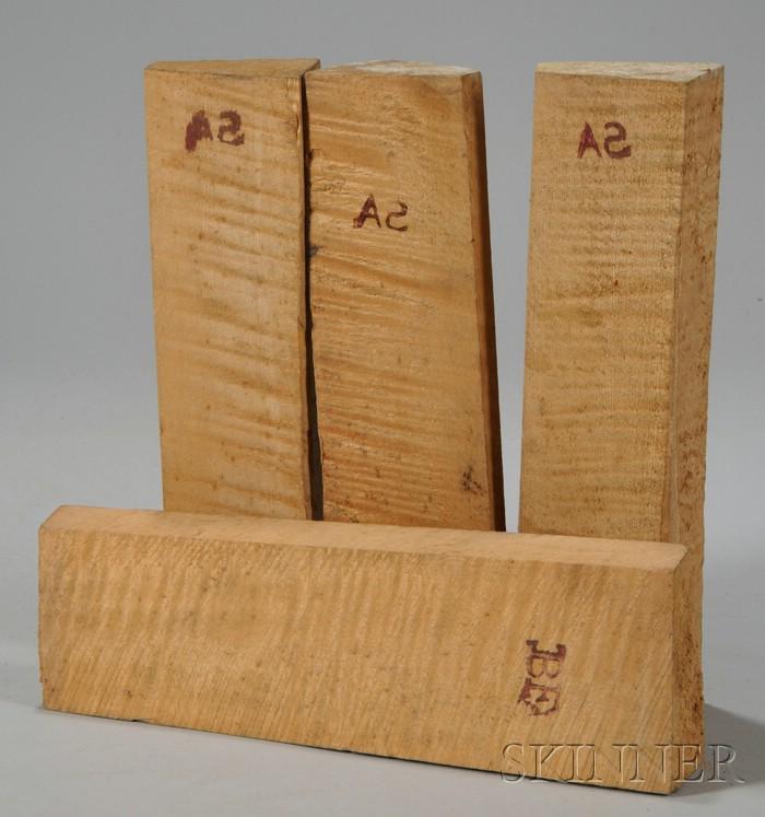 Four Quartersawn Maple Violin Neck Blocks.