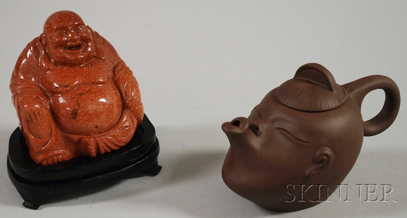 Modern Asian Ceramic Teapot and a Glass Figure of a Seated Buddha.