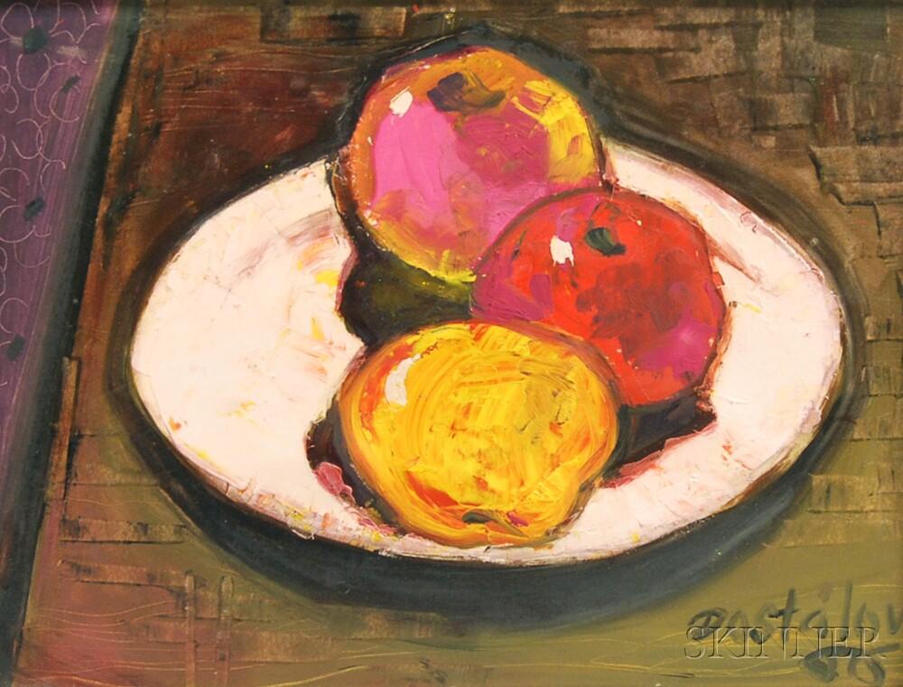 Alena Dostalova (Czech, 20th Century)      Still Life with Plate of Apples.