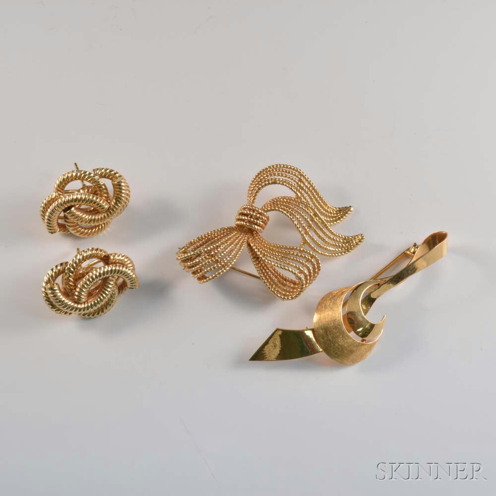 Two Gold Brooches and a Pair of 14kt Gold Earrings