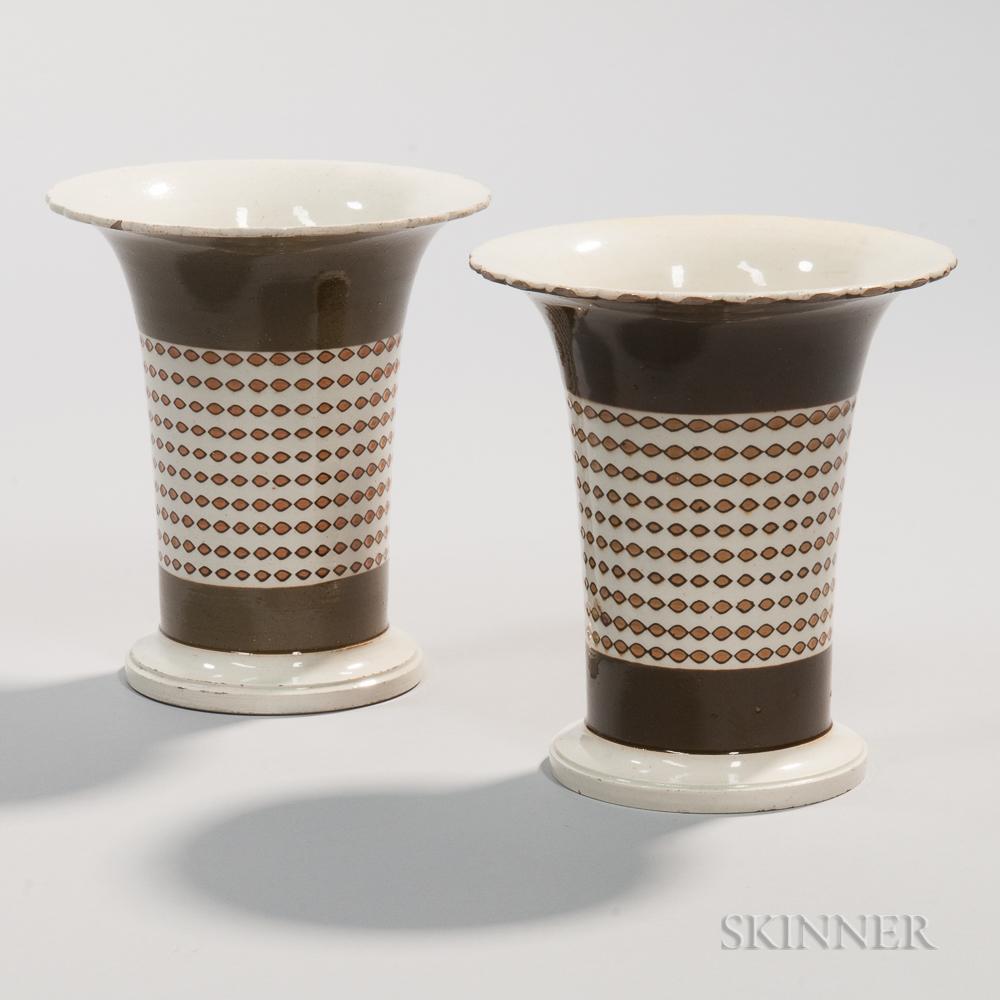 Pair of Creamware Spill Vases