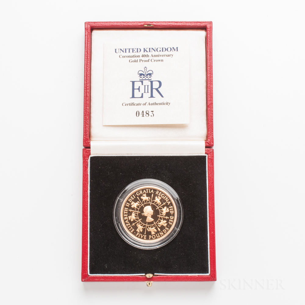 1993 British Proof Five Pound Gold Coin Commemorating the 40th Anniversary of Queen Elizabeth's Coronation.     Estimate $1,200-1,500