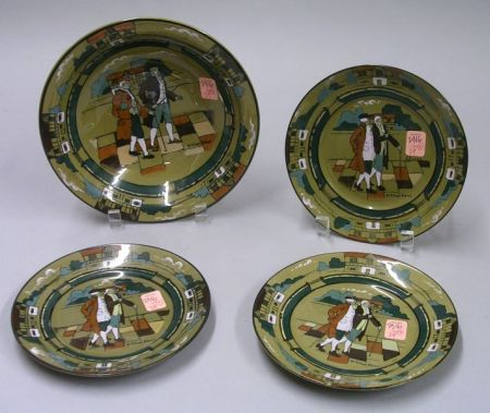 """Buffalo Pottery Deldare Ware """"Ye Village Streets"""" Soup Bowl and Set of Three Plates"""