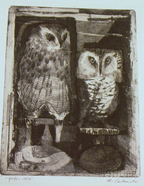 Unframed Etching of Owls
