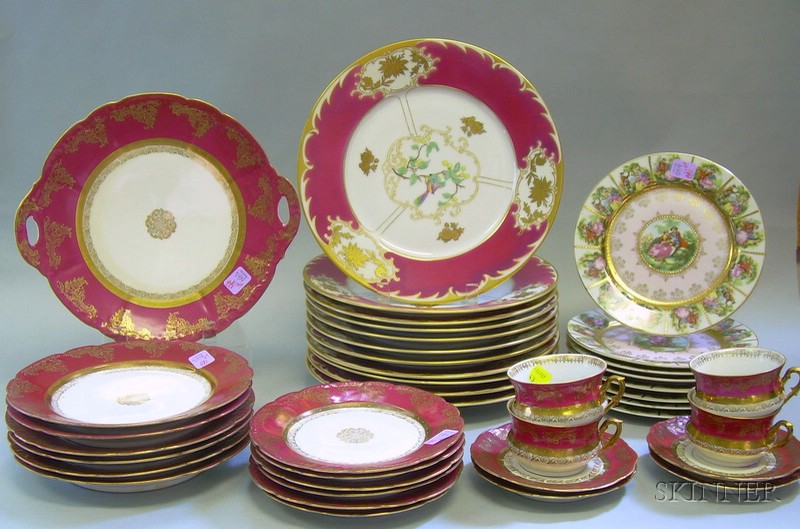 Three Partial Sets of Continental Decorated Porcelain Tableware