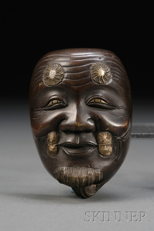 Two Japanese Meiji Period Mixed Metal and Bronze Miniature Noh Masks