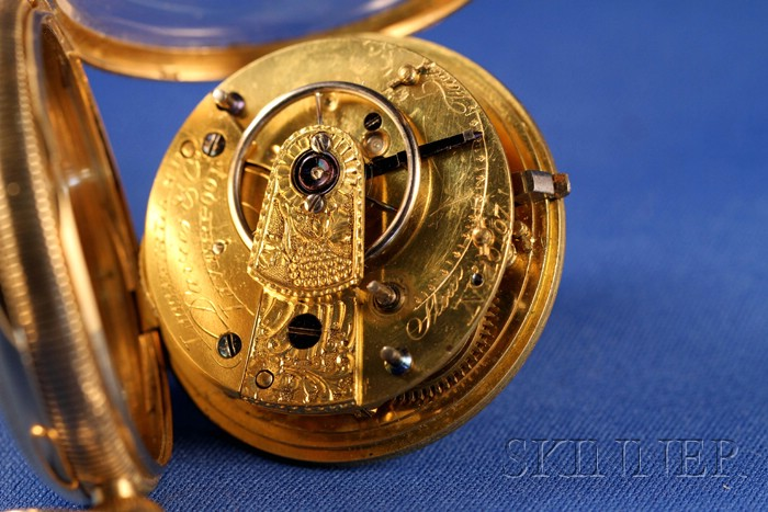 18kt Gold Consular Case Cylinder Watch by Litherland, Davies & Company