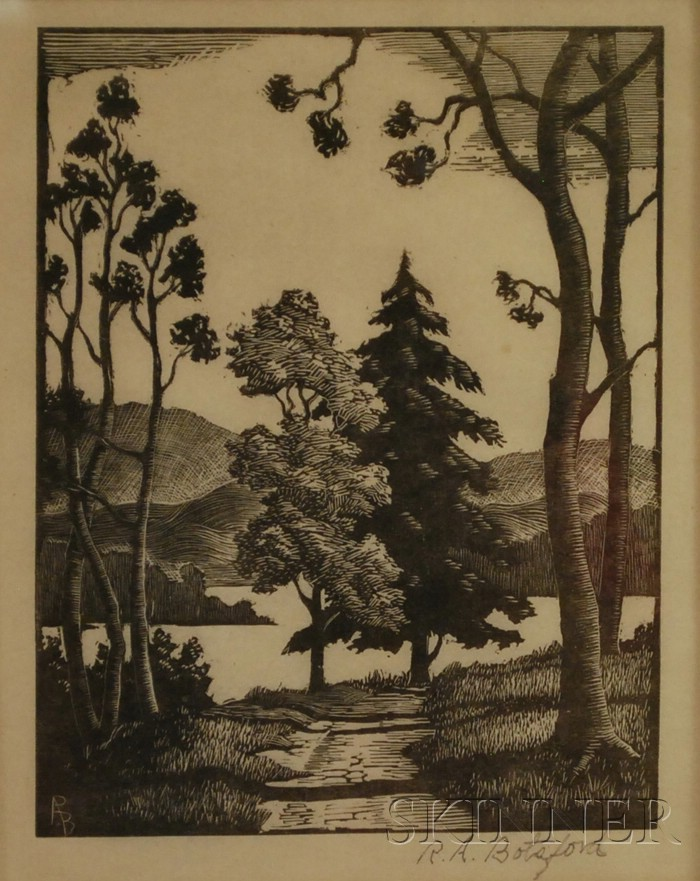 American School, 20th Century      Lot of Three Woodcuts signed R. A. Botsford: Landscape, Lighthouse