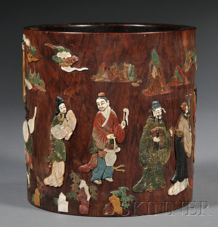 Inlaid Wood Brush Pot