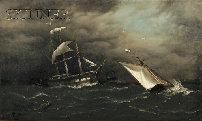 Henry E. Tozer (British, fl. c. 1870)      Ships Caught in a Squall
