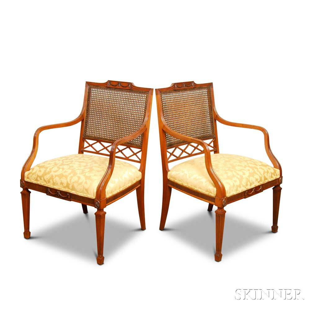 Pair of Paine Furniture Neoclassical-style Carved Mahogany Caned Armchairs