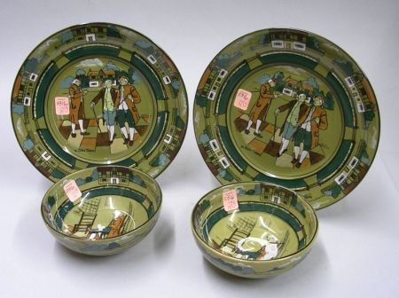 """Pair of 1908 Buffalo Pottery Deldare Ware """"Ye Olden Times"""" Plates and a Pair of   1909 """"Ye Olden Days"""" Bowls"""