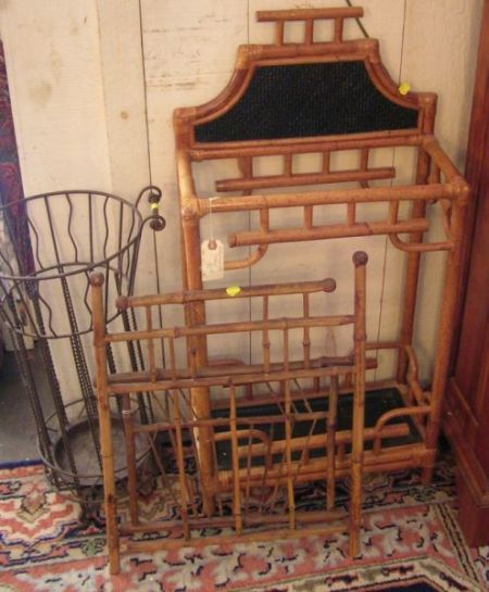 Faux Bamboo Umbrella Stand, a Victorian Bamboo Magazine Wall Rack, a Wire Umbrella Stand, a Walnut Folding Wall Coat Rack, a Moun...