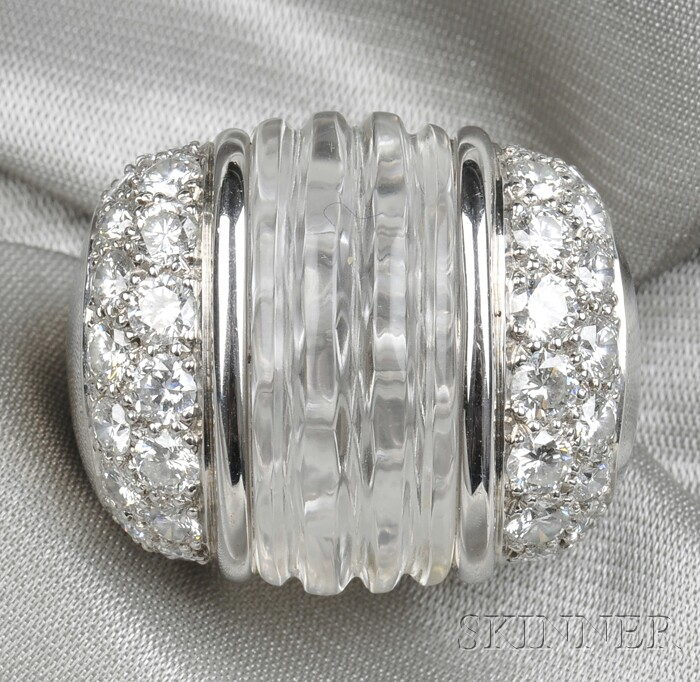 18kt White Gold, Rock Crystal, and Diamond Ring
