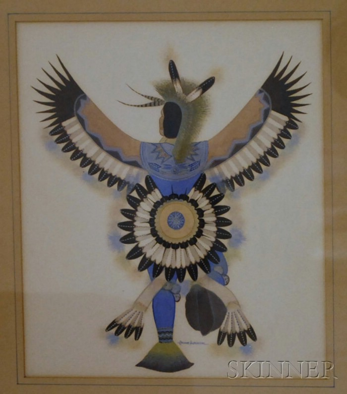 Framed Gouache of Eagle Dancer by Archie Blackowl